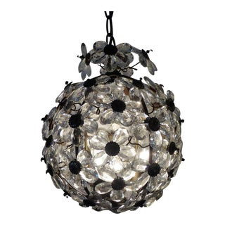 Maison Baguès Floral Crystal Ball Form Chandelier, 1920s For Sale