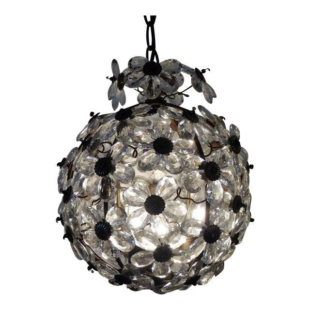 Maison Baguès Floral Crystal Ball Form Chandelier, 1920s For Sale
