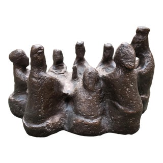 "Mid 20th Century Shay Rieger ""The Supper"" Limited Edition Brutalist Bronze Sculpture (#3/200) (Mid 20th Century) (American) For Sale"