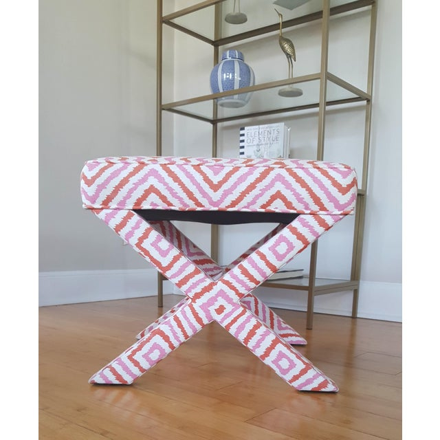 Bright Pink Jonathan Adler X Bench For Sale - Image 8 of 8