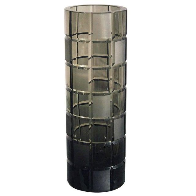 Smoke Grey Glass Vase, Orrefor Legend Square Style - Image 1 of 10