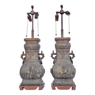 Asain Bronze Lamps - a Pair For Sale