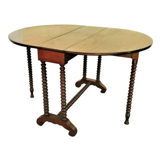 19th Century Antique English Oak Barley Twist Drop Leaf Table With Two Gate Legs For Sale