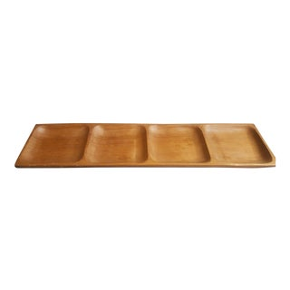 Vintage Mid Century Modern 4 Section Teak Hors d'Oeuvres Serving Tray For Sale