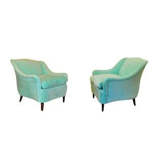 1960s Mid-Century Modern Plush Velour Club Chairs - a Pair