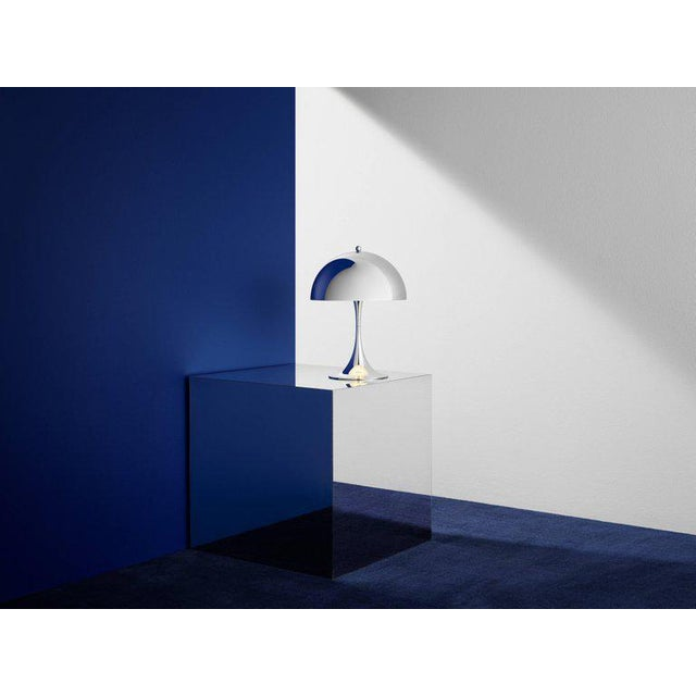 *NOTE: 2-3 WEEK LEAD TIME* Verner Panton 'Panthella Mini' table lamp in chrome for Louis Poulsen. The Panthella mini LED...