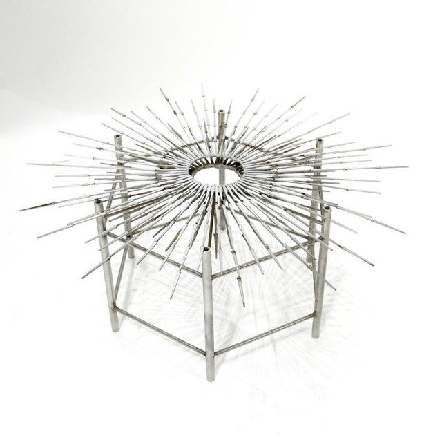 Custom welded Brutalist nail sculpture coffee table in the style of Silas Seandel or William Bowie with large and heavy...