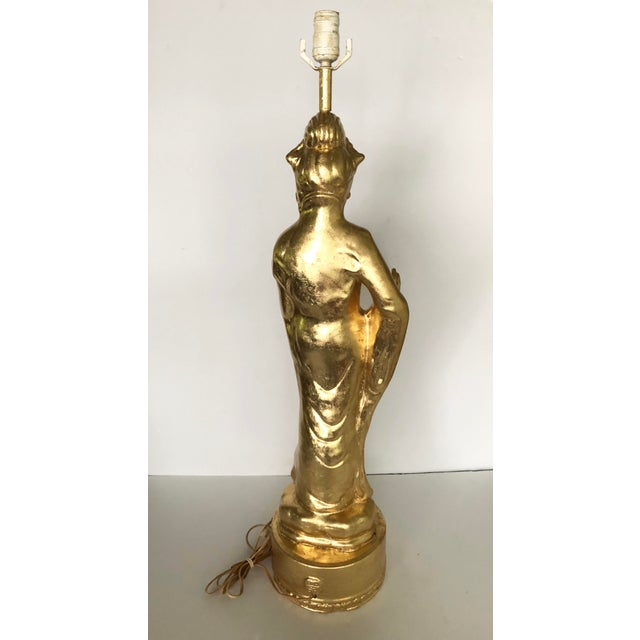 Gold Leaf Large Gold Leaf Chinoiserie Guan Yin Lamp For Sale - Image 7 of 13
