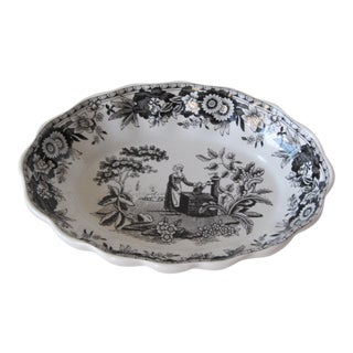 Black & White Spode Transferware Bowl For Sale
