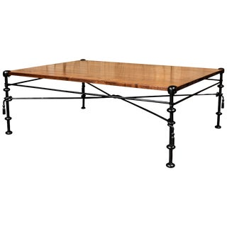 Vintage Coffee Table With Iron Base and Custom Walnut Top For Sale