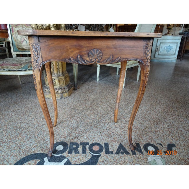 18th Century French walnut side table with cabriole legs and one carved drawer. Shell and acanthus motif carving. Similar...