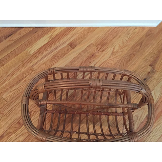 1960s Vintage Bamboo & Rattan Magazine Holder For Sale - Image 5 of 8