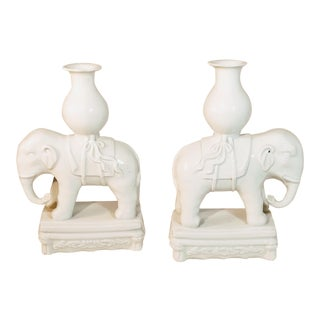 Vintage Elephant Bookends Pottery White Howdah Indian India White Ceramic Vases - a Pair For Sale