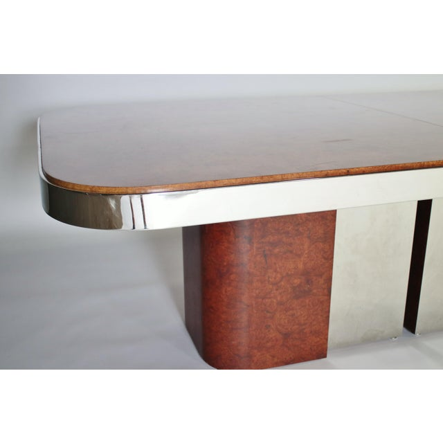 1970s Burl Wood and Steel Dining Table For Sale - Image 5 of 10