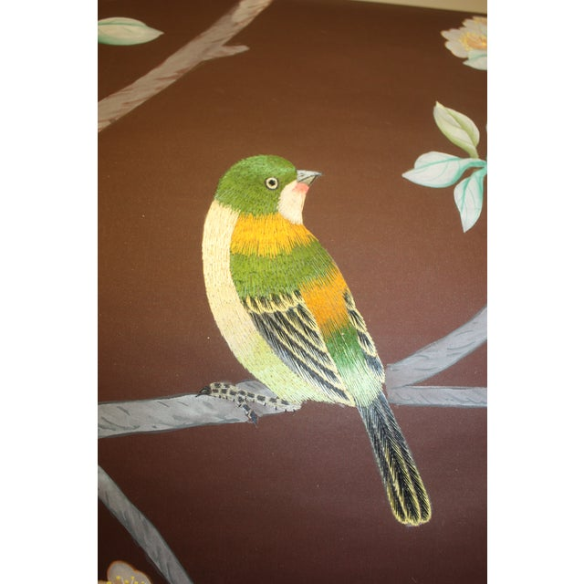 Hand Painted and Embroidered Mural on Paper Backed Silk For Sale - Image 12 of 13