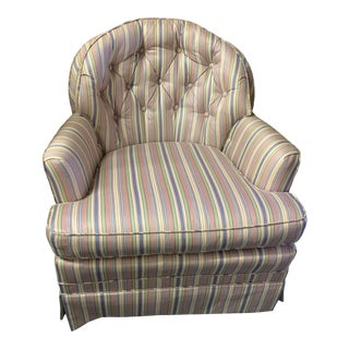 Mid-Century Tufted Chintz Swivel Rocking Chair For Sale