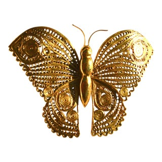 1970s Figurative Oversized Butterfly Brooch For Sale