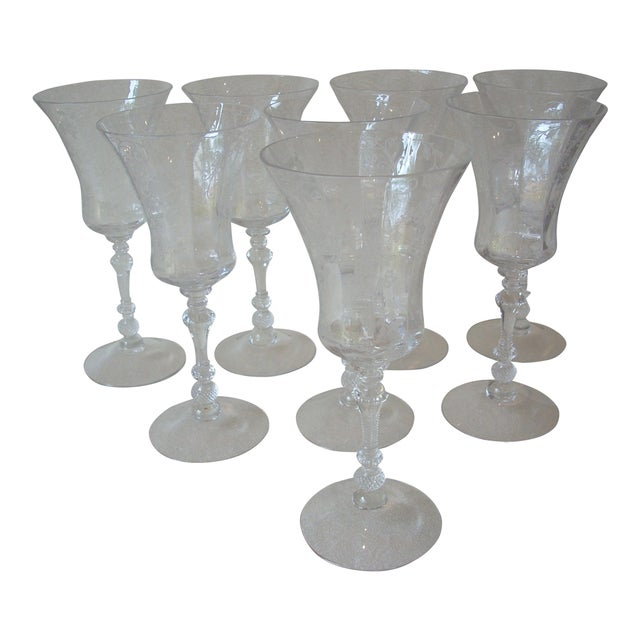 1940s Etched Crystal Stems - Set of 8 For Sale