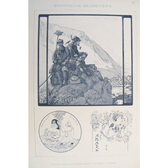 Traditional German Decorator Print C.1900 - Mountaineering For Sale - Image 3 of 3