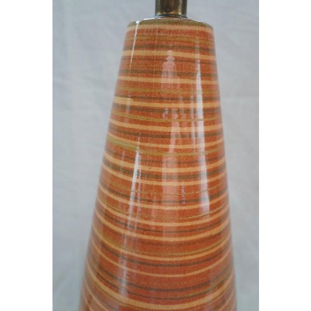Mid Century Modern Orange And Brown Striped Ceramic Table Lamp