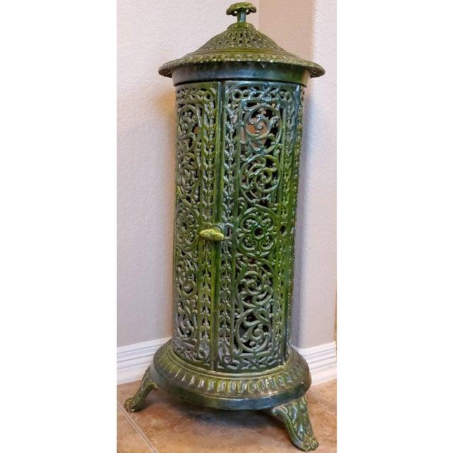 Decorative French Art Nouveau Enameled Cast Iron Antique Parlor Heater Stove For Sale - Image 4 of 11