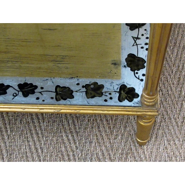 Gold French Maison Jansen 1940's Eglomise Console Table and Mirror For Sale - Image 8 of 12