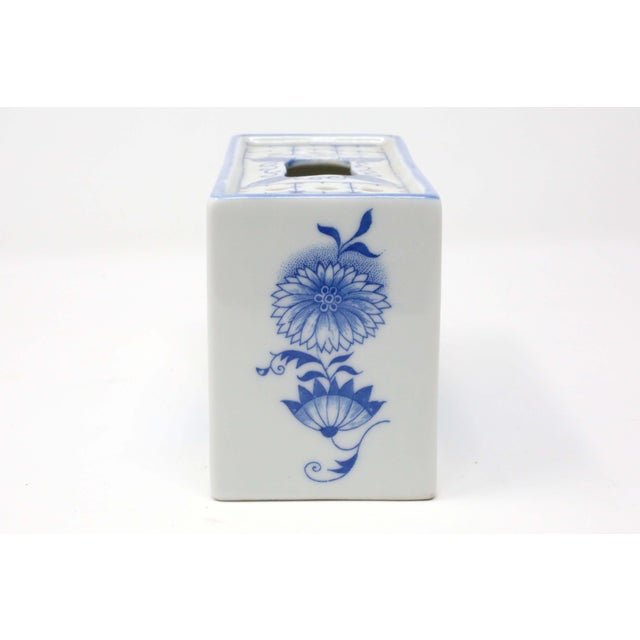 Japanese Blue and White Porcelain Flower Brick For Sale - Image 4 of 9