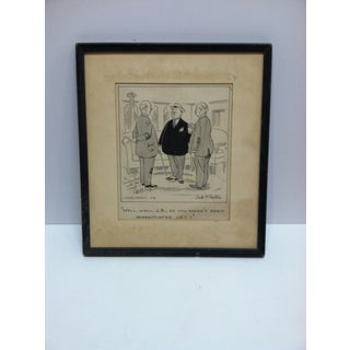 """20th Century Signed Black & White Print, """"Well Well j.b. - So You Haven't Been Renegotiated Yet"""" by Dale McFeatters Preview"""