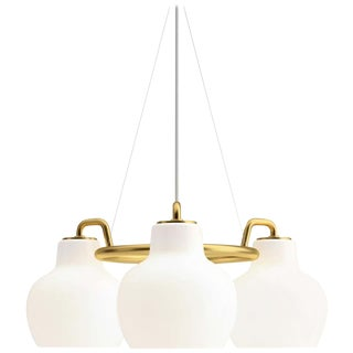 Vilhelm Lauritzen 3-Shade Brass & Glass Ring Chandelier for Louis Poulsen For Sale