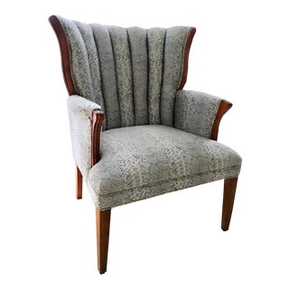 Transitional Silver and White Channel Backed Chair