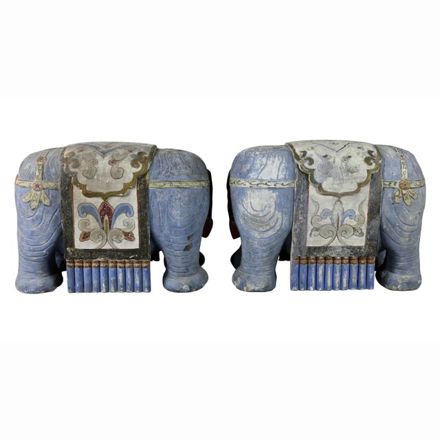 Chinese Painted Wood Elephants on Brackets - a Pair For Sale - Image 9 of 13