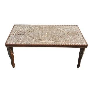 Vintage Moorish Style Floral Inlaid Wood Coffee Table For Sale