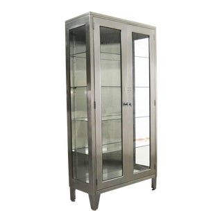 Vintage Stainless Steel Industrial Display Apothecary Medical Cabinet With Glass Doors and Shelves