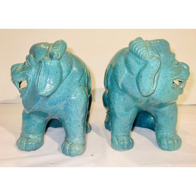Turquoise Chinese Porcelain Mythological Beasts in Robin's Egg Blue Glaze - a Pair For Sale - Image 8 of 9