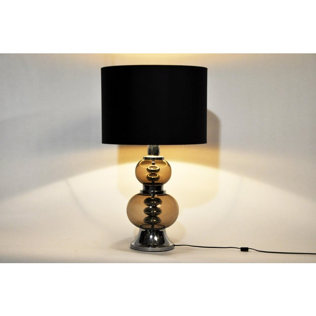 Glass and Chrome Table Lamps - A Pair For Sale - Image 4 of 13
