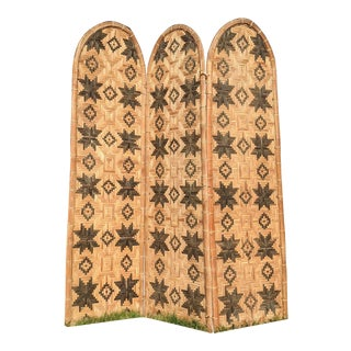 Mid 20th Century Three Panel Handwoven Folding Screen For Sale