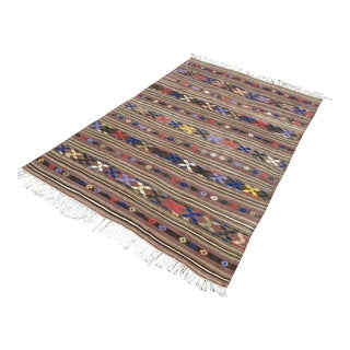 "Vintage Turkish Striped Wool Kilim Rug-4'10'x7'8"" For Sale"