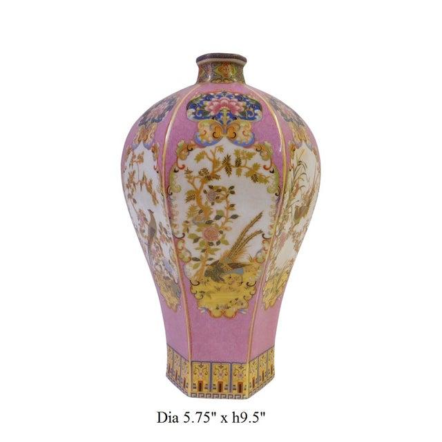 Pink Hexagonal Multi-Color Porcelain Vase - Image 6 of 6