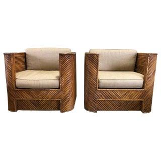 Mid Century Gabriella Crespi Style Italian Bamboo Club Chairs- A Pair For Sale