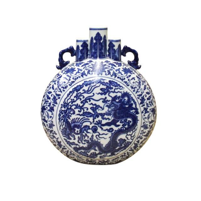 Chinese Blue White Porcelain Dragon Phoenix Theme Flask Vase For Sale