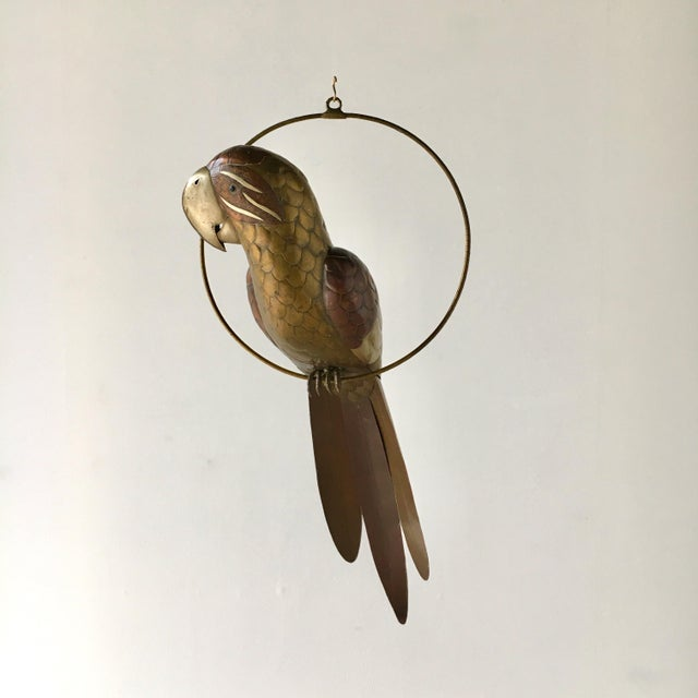 Copper and Brass Parrot on an Arch Stand by Sergio Bustamante Mexico 1960s