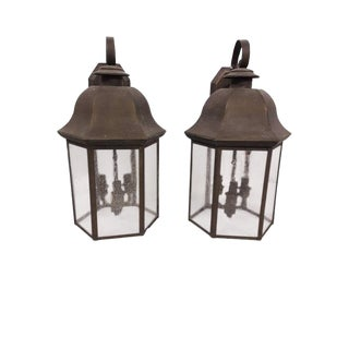 Large Copper/Brass Patina Architectural Outdoor Wall Hanging Copper Lanterns - Pair For Sale