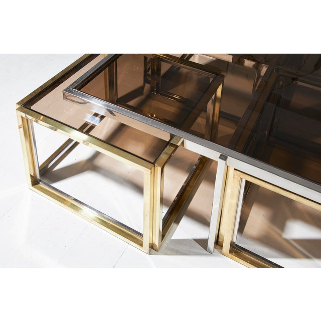 Brass Maison Charles, Paris, Large Brass and Chrome Square Coffee Table For Sale - Image 7 of 8