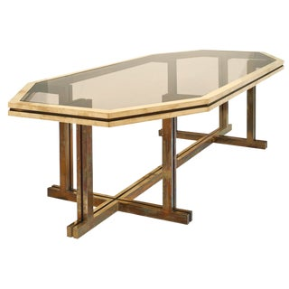 Romeo Rega Brass and Smoked Glass Dining Table For Sale