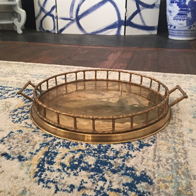 Brass Faux Bamboo Chinoiserie Tray - Image 2 of 9