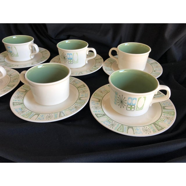 """Midcentury Starburst Design """"Cathay """" Taylor Smith & Taylor Teacups and Saucers S/6 For Sale In New York - Image 6 of 7"""