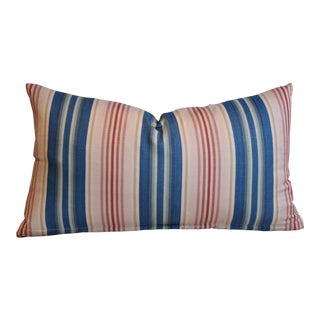 """Nautical Blue, Pink & Red Striped Feather/Down Pillow 23"""" X 13"""" For Sale"""