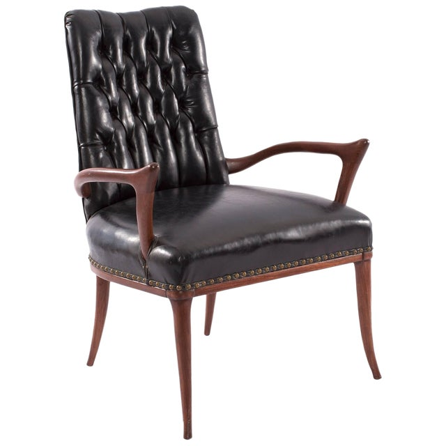 1950s Mid-Century Modern Sculptural Mahogany and Upholstered Armchair For Sale