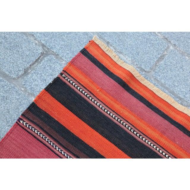 Turkish Floor Orange Stripe Kilim Rug - 4' x 2' 7'' - Image 6 of 11