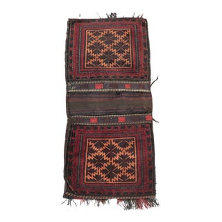 Late 19th Century Antique Handwoven Afghan Baluch Wool Saddlebag / Rug For Sale